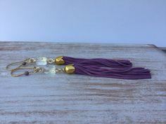 Dazzling Swarovski Statement Earrings- Young and Modern Tassel Earrings - Lovely Lavender Tassel - Boho Chic