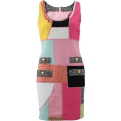 Moschino Patchwork Tweed Dress ($1,995) ❤ liked on Polyvore featuring dresses, slim fit dress, scoopneck dress, slimming dresses, zipper back dress and moschino