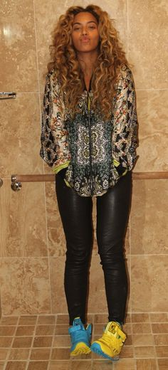 Celebrity CoK - Beyonce  Beyonce in Reebok Classics x Keith Haring Barking Dog High Tops
