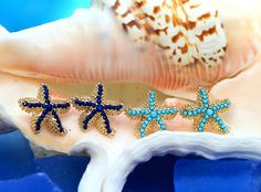 Earrings: Beaded Starfish Earrings - Navy or Aqua: Beach Decor, Coastal Decor, Nautical Decor, Tropical Decor, Luxury Beach Cottage Decor