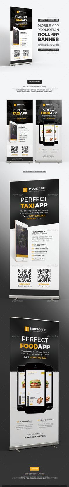 Mobile App Promotion Roll-up Banner Fully editable layers can perfectly consume your own texts and images in a blink. This template includes 2 different layout styles. We've done the hard work to let you focus on your core business. Standing Banner Design, Communication, App Promotion, Android App Design, Logo Image, Rollup Banner, Cool Business Cards, Postcard Design, Signage Design