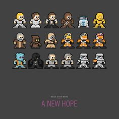 Mega Man-style Star Wars sprites!  These would be fun to do as cross stitch on plastic perf and turn into keychains.