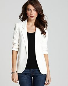 White ruched sleeve boyfriend blazer