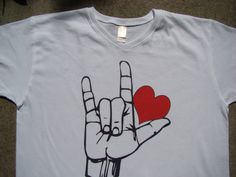 Items similar to Love T shirt - American sign Language - Red Heart - Custom printed tee shirt on Etsy Asl Sign Language, American Sign Language, Deaf Sign, Love T Shirt, Boho Tops, T Shirts For Women, Clothes For Women, Have Time, Cool Outfits
