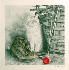 "Saatchi Art Artist Werner Zganiacz; Printmaking, ""The cat on the farm"" #art"