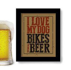 Bike Art, Dog Art, Bicycle Art, Beer Art, Cycling Art