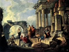 The Apostle Paul preaching among the ruins. 1744. Giovanni Paolo Pannini. Italian. oil / canvas. http://hadrian6.tumblr.com
