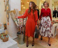 Queen Rania of Jordan and Queen Mathilde of Belgium visited the Jordan River Foundation