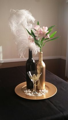 Centerpiece idea for Great Gatsby Theme Party