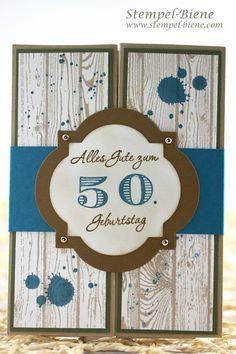 Geldgeschenkkarte zum 50. Geburtstag, Geldgeschenkkarte für einen Mann, Stampin' Up Gorgeous Grunge, Box-Card Mann, Stampin up Artikel bestellen, Scrapbookkarte Mann