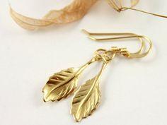 Gold Leaf Earrings 14K Gold Filled - Celebrity Earrings - Jennifer Aniston - Lightweight Earrings on Etsy, $22.75 CAD
