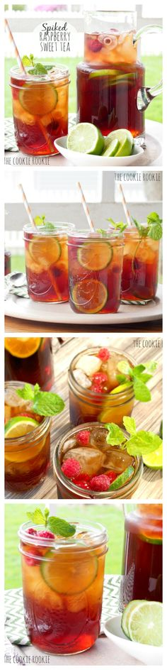 Spiked HOMEMADE Raspberry Sweet Tea is the perfect refreshing cocktail for spring and summer! - The Cookie Rookie Schramm Kern summer 2014 Refreshing Cocktails, Summer Drinks, Cocktail Drinks, Cold Drinks, Fun Drinks, Cocktail Recipes, Beverages, Summer Bbq, Smoothies