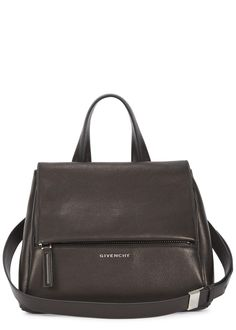 Givenchy black grained leather tote One top handle, detachable adjustable shoulder strap, designer plaque, zip fastening front pocket, two internal compartments, one internal pocket, fully lined Concealed clasp fastening at flap front Comes with a dust bag