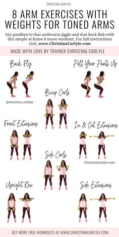 Burn fat and get toned arms fast with these 8 Easy Arm Exercises with Weights for Women. Get your dumbbells and start burning your arm fat christinacarlyle…. Fitness Workouts, Yoga Fitness, Health Fitness, Toning Workouts, Fitness Plan, Hard Ab Workouts, Simple Workouts, Treadmill Workouts, Men Health