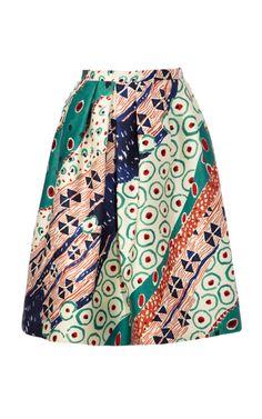 Printed Silk-Blend A-Line Skirt by Oscar de la Renta Now Available on Moda Operandi