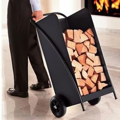 Indoor Firewood Rack and Storage Ideas Indoor Log Storage, Indoor Firewood Rack, Firewood Storage, Diy Furniture Projects, Small Furniture, Recycled Trampoline, Wooden Cart, Diy Welding, Built In Ovens
