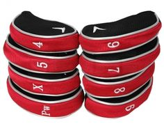 These stylish, embroidered headcovers by Callaway will provide excellent protection for all standard-sized irons. They come in a set of 8 to cover your as well as an additional X . Golf Head Covers, Callaway Golf, Best Club, Golf Ball, Iron, Steel