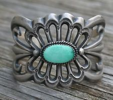 Vintage Old Pawn Sterling Silver Navajo Native TURQUOISE Cuff Bracelet 60gr