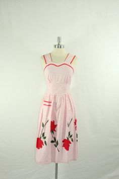 1950s Cotton Dress - Pink and White Stripes with Large RED ROSES Border Print Summer Frock