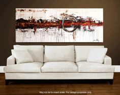 wall Art Painting  72 x30 HUGE abstract  painting by jolinaanthony