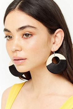 cff549831 Forever 21 Wooden Drop Hoop Earrings Cute Earrings, Drop Earrings, Wooden  Hoop, Jewelry