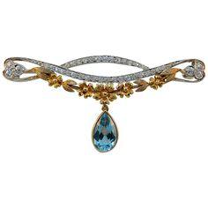 1905 J.E. Caldwell & Co. Art Nouveau Aquamarine Diamond Platinum Gold Brooch