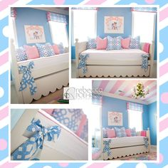 Caylin's completed room! Love love love that my vision for my big girl is complete! No room goes without monograms! Blue & white pillows & window treatments have her monogram in pink. Classically preppy Blue & pink bedroom