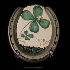 Horseshoe Art Lucky Four Leaf Clover Art Illustration framed in Antique Horseshoe Hand Beaded Accent 31