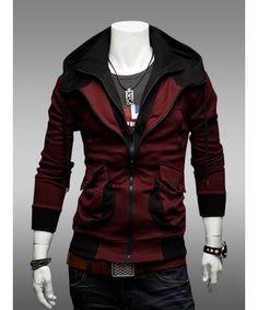 Wholesale Red Korean Fashion Double Zipper Hoodie Men Casual Cotton Jacket M/L/XL/XXL 1414-WY23r - ClothingLoves.com ($15.00) - Svpply