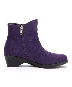 Serene Comfort Purple Gathered Cokas Ankle Boot   zulily