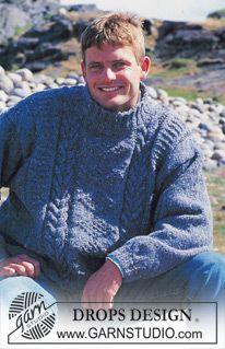 "DROPS ladies or men's jumper with cable pattern in ""Alaska-Tweed"". Long or short version. ~ DROPS Design"