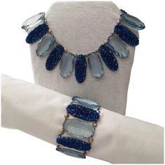 C. 1935 Collar Style Necklace & Matching Bracelet Vintage Silver Jewelry, Ruby Lane, Collar Necklace, Czech Glass, Jewelry Sets, Shops, Vintage Fashion, Pottery, Bracelets