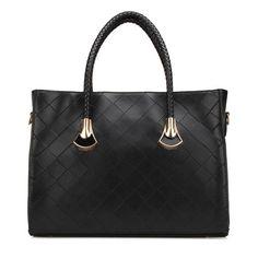 Sale 19% (25.19$) - Vintage Women Leather Handbag Big Plaid Shoulder Bag