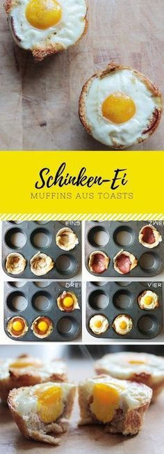 Schinken-Ei-Muffins auf Toast leicht in einer Muffinform backen. Passt auch mit … Bake ham egg muffins on toast lightly in a muffin tin. Also goes well with bacon. Perfect for brunch at Easter or on birthdays Party Snacks, Lunch Snacks, Egg Recipes, Baking Recipes, Ham And Eggs, Comida Latina, Baked Ham, Easter Brunch, Food Porn
