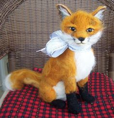 "my latest, a large needle felted over base, Red Fox 11"" tall, on ebay"