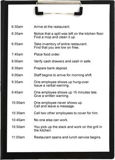 Just a glimpse of a routine day in the life of a restaurant manager.