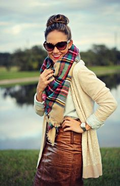 6 ways to wear the Zara tartan scarf this season and into the winter by mixing prints, popping color, and adding unexpected feminine extras! Scarf Cardigan, Sequin Cardigan, Tartan Scarf, Cream Cardigan, Brown Leather Skirt, Leather Skirts, Leather Bag, Fall Outfits, Cute Outfits