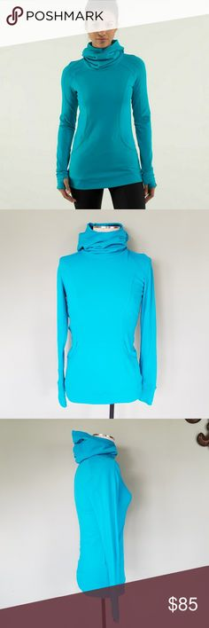 Lululemon Base Runner Hoodie Lululemon Athletica.  Women's 6. Base Runner Hoodie Pullover. Half Micro Macro Surge / Surge Blue.  Soft, cozy Rulu fabric is lightweight and moisture-wicking with four-way stretch. Slouch hood doubles as a scarf. Double layer of fabric at the core. Set My Ponytail Free window / Pony tail hole in the hood.  Cuffs have thumbholes and reflectivity. Media-management system inside the kangaroo pocket. Excellent condition! lululemon athletica Tops Sweatshirts…