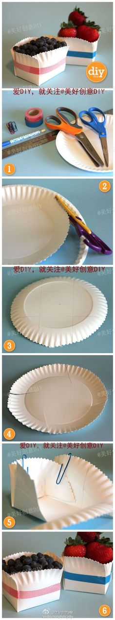 Paper plate boxes~ I did these for some welcome baskets, they are super easy to make, and cute. (I used staples to keep the sides up, not just paper clips)