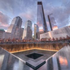 Reflecting on 9/11 at sunset, wow. Amazing how beautiful this looks. Never forget with this in place. memorial