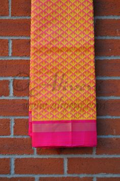 Pink Kuppadam Saree with Yellow Motifs all over