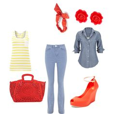 Red & Jeans by eileen-salguera on Polyvore featuring polyvore fashion style Silver Jeans Co. Barbour Miss Selfridge Melissa Melie Bianco Fornash Mudd