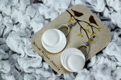 Vintage moon white button earrings. http://www.etsy.com/shop/ButtonWillowJewelry