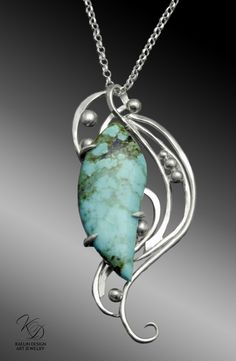 Captured in a cascade of silver, the Turbulent Waters pendant swirls around uniquely cut Turquoise cabochon, inspired by the nature of strength. Stone Jewelry, Charm Jewelry, Wire Jewelry, Pendant Jewelry, Jewelry Crafts, Jewelry Art, Pendant Necklace, Jewelry Rings, Jewelry Shop