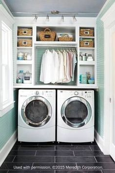 Explore laundry room decorating ideas that are both stylish and functional. From extra storage space and hidden appliances to pops of color and reclaimed wood, these laundry rooms will inspire your next home renovation project./small laundry rooms/