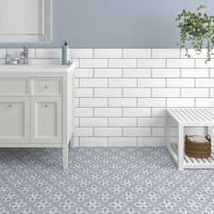 Devonstyle Grey Pattern Wall and Floor Tile Devon Style floor tiles make a wonderful feature of any hallway or bathroom. Use the Devon Style Black base tile as a border to create a focal point or deploy across the whole floor for a real statemen Bathroom Floor Tiles, Wall And Floor Tiles, Toilet Tiles, Bathroom Wallpaper, Vintage Bathroom Tiles, Colourful Bathroom Tiles, Bathroom Feature Wall Tile, Modern Bathroom, Grey Wall Tiles