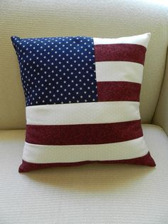 Handmade American Flag Old Glory 4th of July Quilted Pillow Home Decor SQUARE. $27.00, via Etsy.