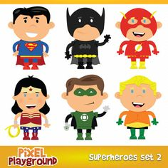 Superhero Team 2 - 6 Cute Superhero Illustrations for Personal & Commercial Use
