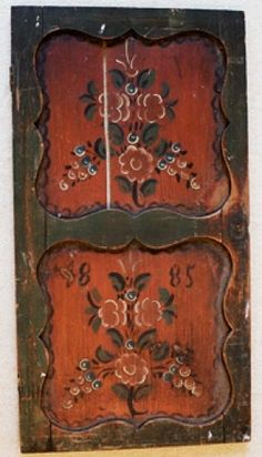 1885 ~ Scandinavian rosemaling. Repinned by  Oh I'd love to re-create this look on a piece of furniture!