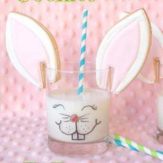 Bunny ear cookies and milk